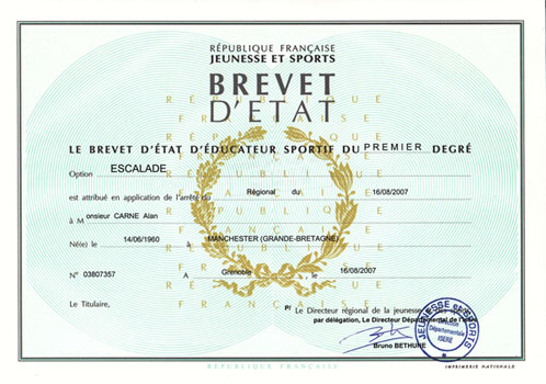 about bio brevet d etat diploma for french climbing instructors